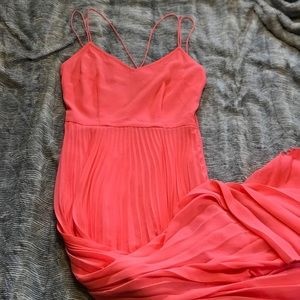ASOS Coral Pleated Maxi Dress